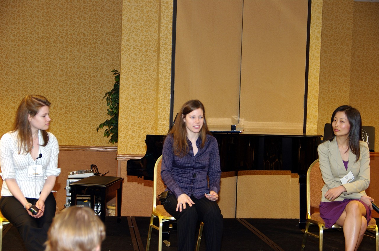 Emily Bruskin, Julia Bruskin, and Donna Kwong of the Claremont Trio give a session at the 2010 Conference