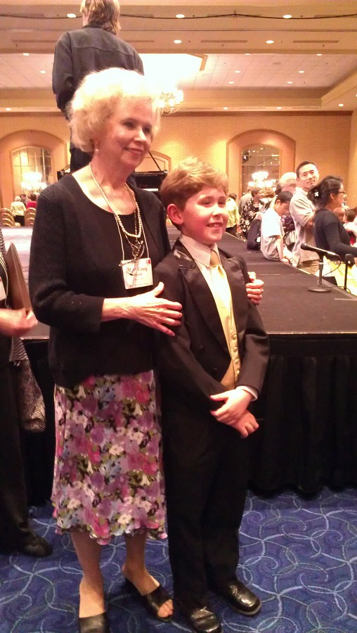 Gavin George and teacher Mary Craig Powell