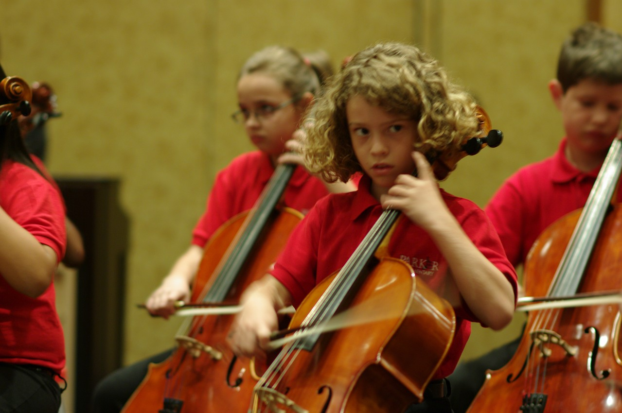 Parker Elementary Suzuki Strings performs at the opening reception