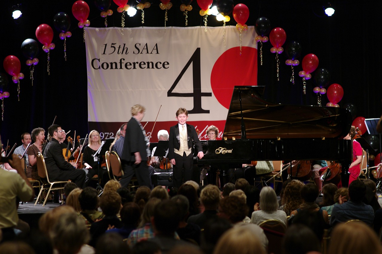 Gavin George takes the stage for the piano concerto at the 2012 conference
