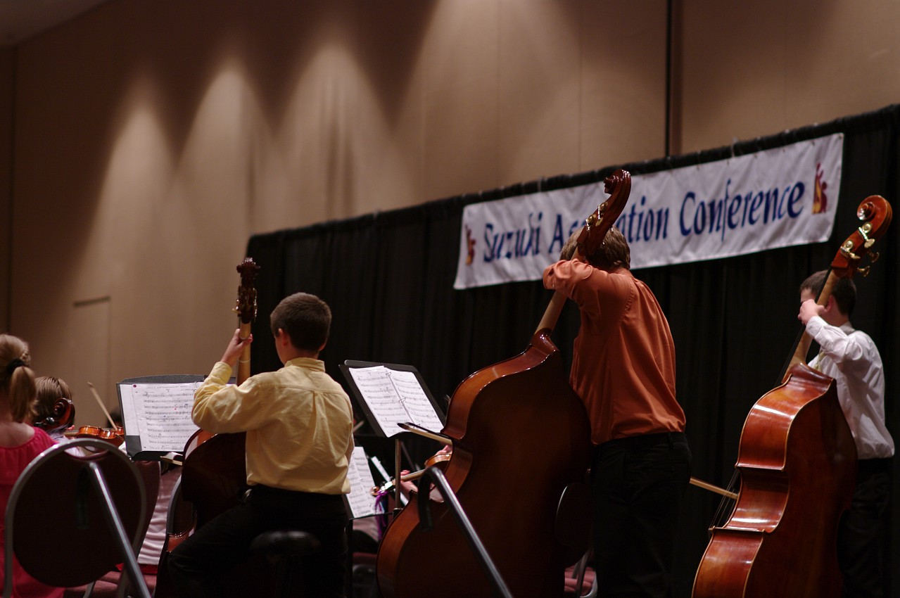 Cello and bass sections in the SYOA 2 concert at the 2012 conference