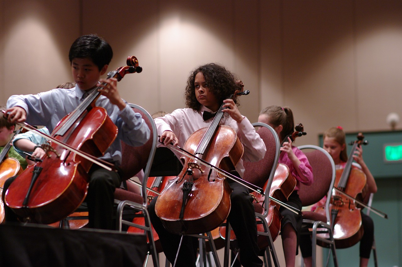 Cello sections in the SYOA 2 concert at the 2012 conference