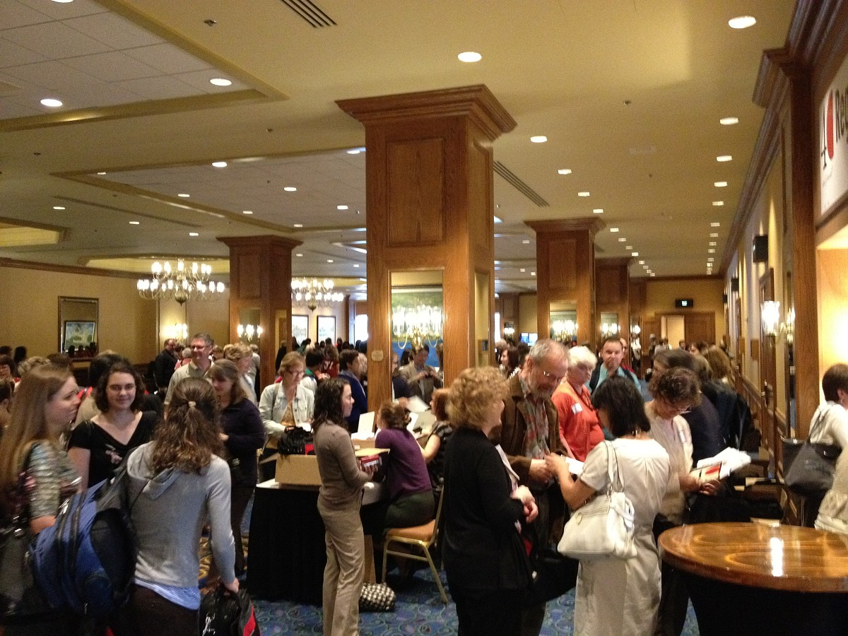Very busy Thursday night registration at the 2012 conference