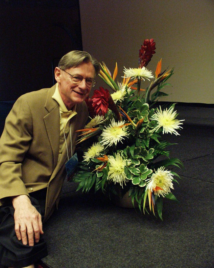William Preucil with flowers at the 2000 SAA Conference