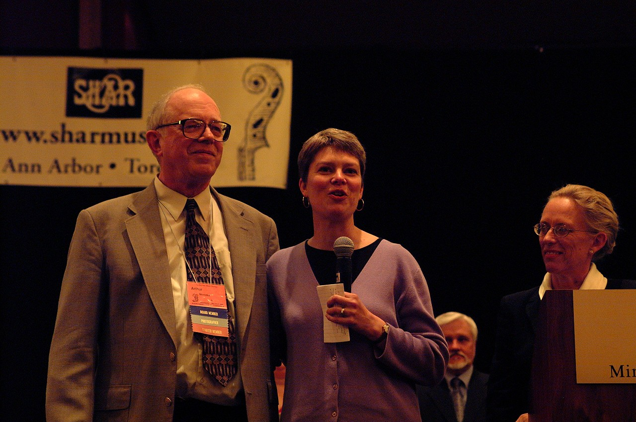 Arthur Montzka and Carrie Reuning-Hummel speak at the 2002 SAA Conference