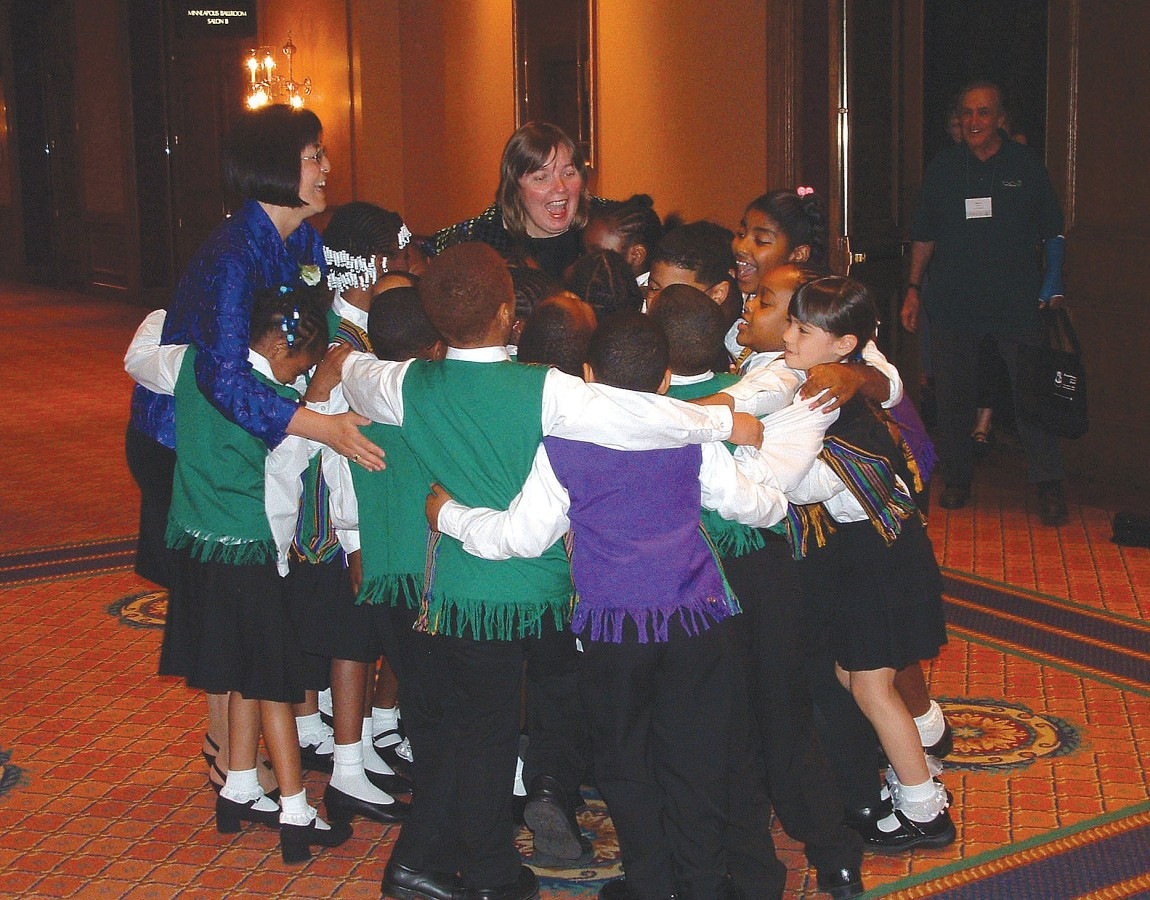 Michele George and Diane Slone with Rainbow Suzuki Strings at the 2004 SAA Conference