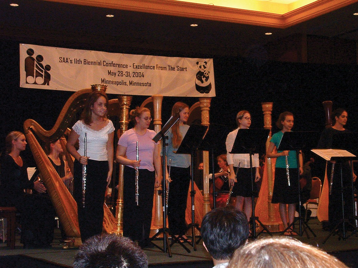 Suzuki flute and harp ensemble performance at the 2004 SAA Conference