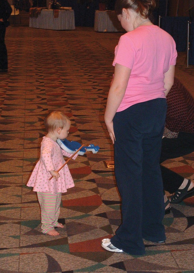 Trying out a foam-a-lin at the 2004 SAA Conference exhibits.