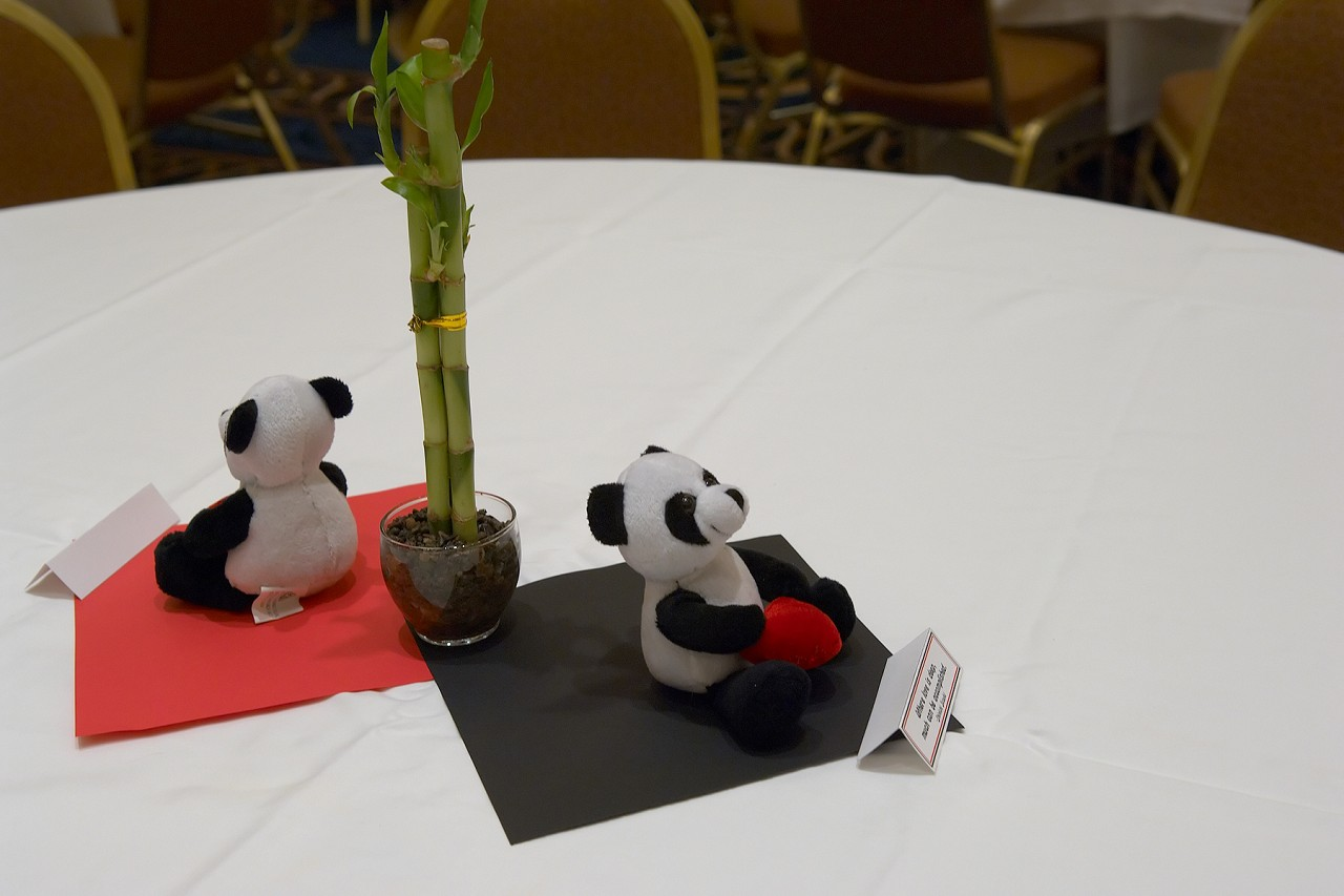 Panda centerpiece at the dinner reception at the 2006 SAA Conference
