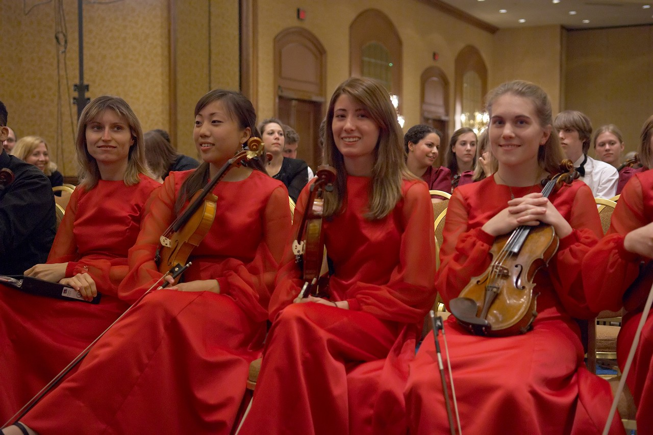 Violinists in the Nevada School of the Arts ensemble before their performance at the 2006 SAA Conference