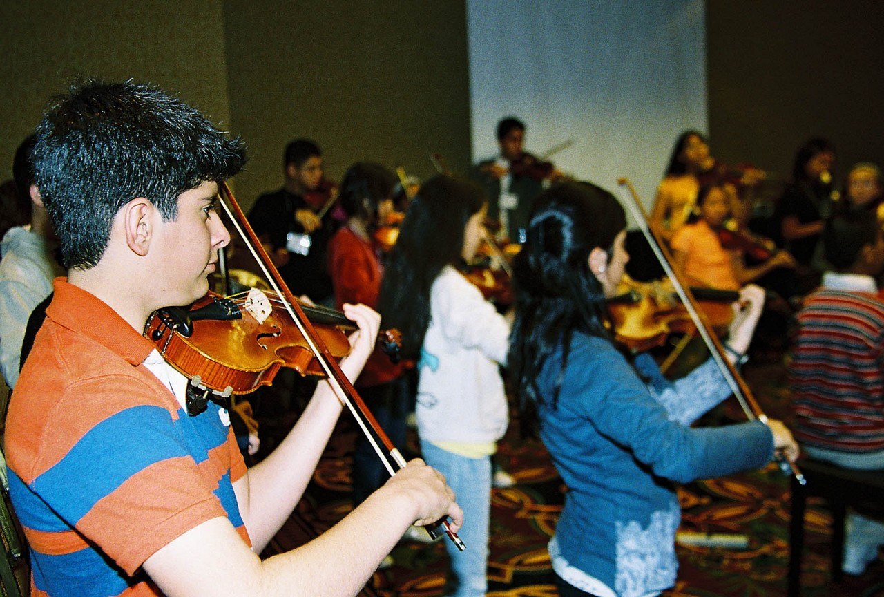 Latin American violin group.