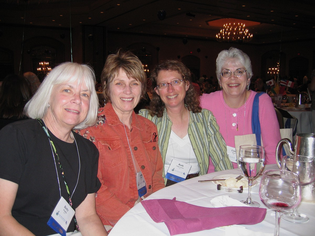 Board members Betty Wahlig, Lamar Blum, and Ruth Engle Larner with Linda Rekas at the 2008 SAA Conference