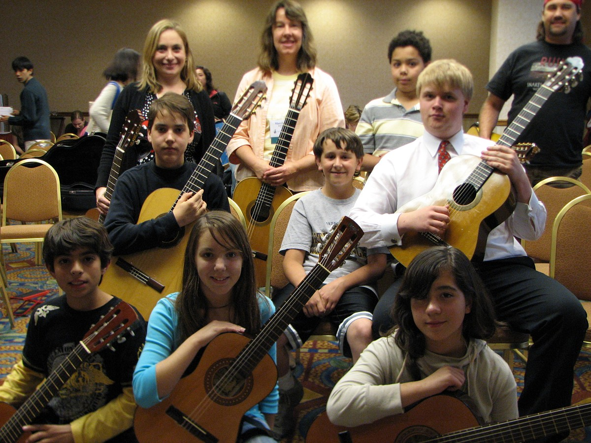 MaryLou Roberts and Suzuki guitar students.