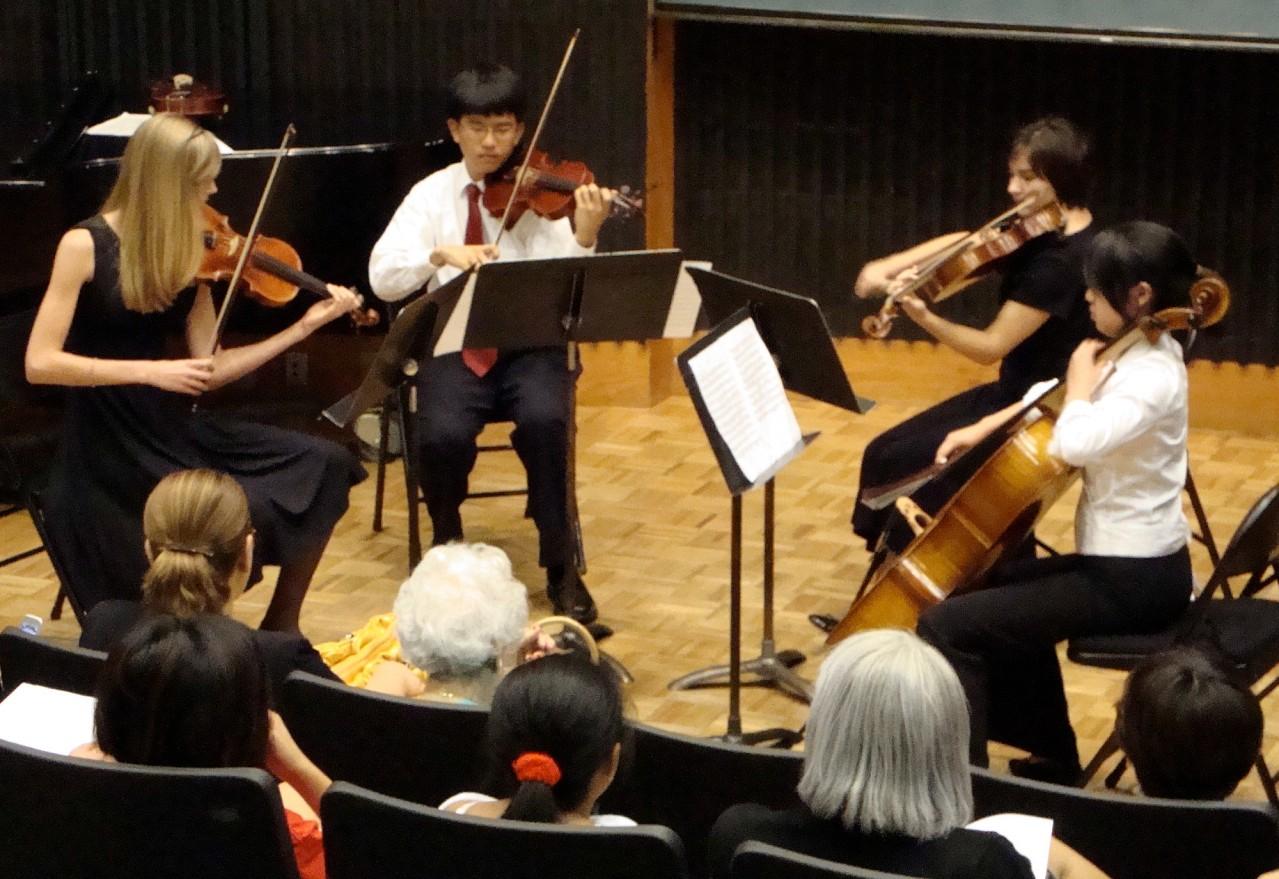 String quartet concert at Advanced Suzuki Institute at Stanford