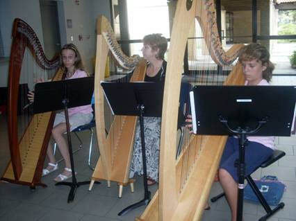 Harp group class at Greater New Orleans Suzuki Summer Camp