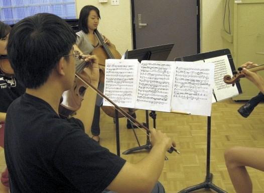 Student quartet at Advanced Suzuki Institute at Stanford