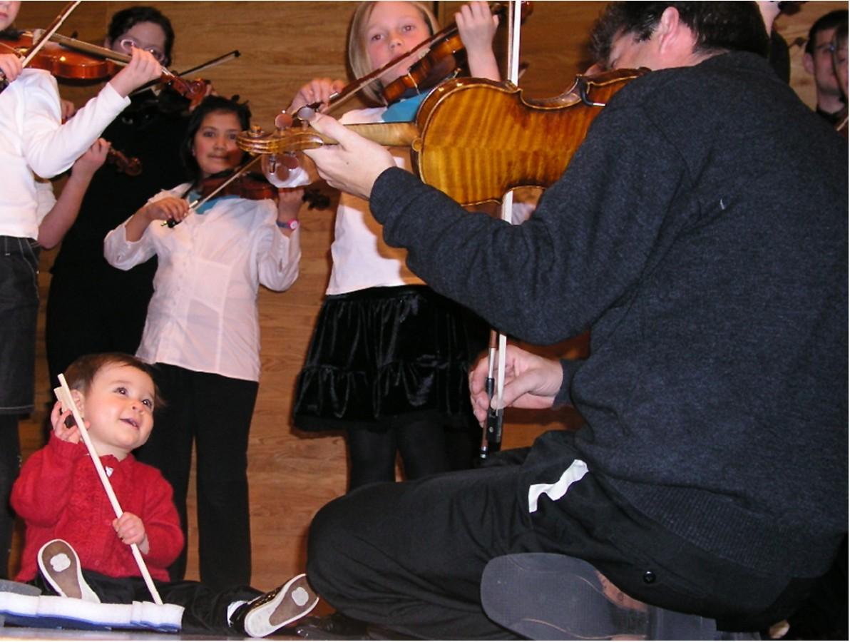 Violin group class at Brandon Suzuki Summer Institute