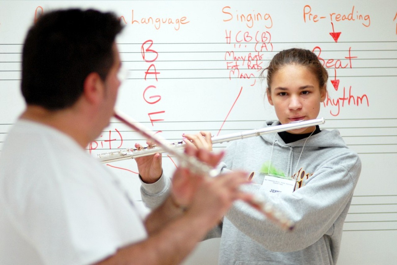 David Gerry and student at East Tennessee Suzuki Flute Institute