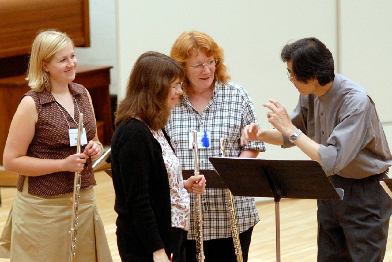 Toshio Takahashi and teachers at East Tennessee Suzuki Flute Institute