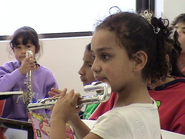 Young flute student at the Bogota Suzuki Festival in June, 2008.