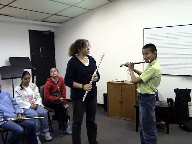 Kelly Williamson and flute student at the Bogota Suzuki Festival in June, 2008.