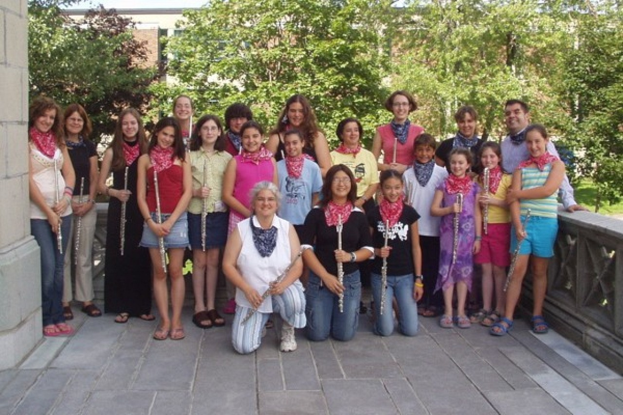 Flutists at the Montreal summer institute with teachers David Gerry, Kelly Williamson, and Sara Traficante.