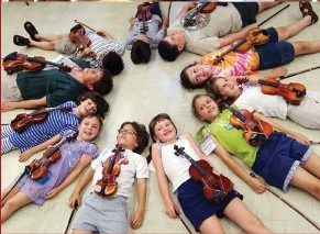 Violin students  at American Suzuki Institute