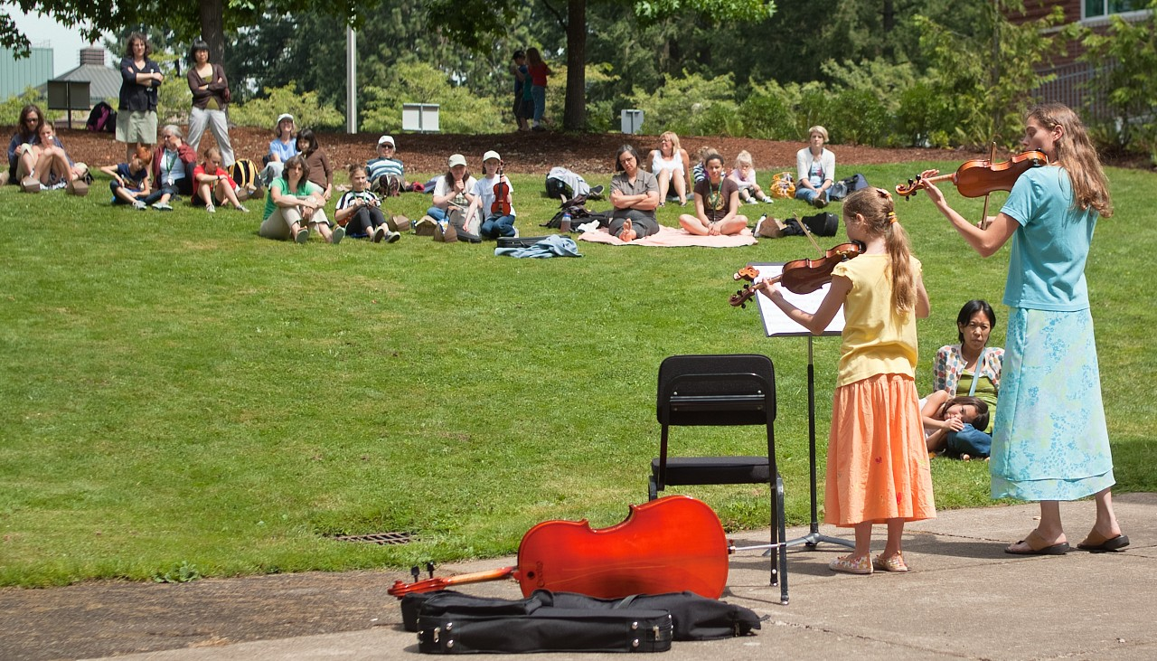 Outdoor concert at Northwest Suzuki Institute