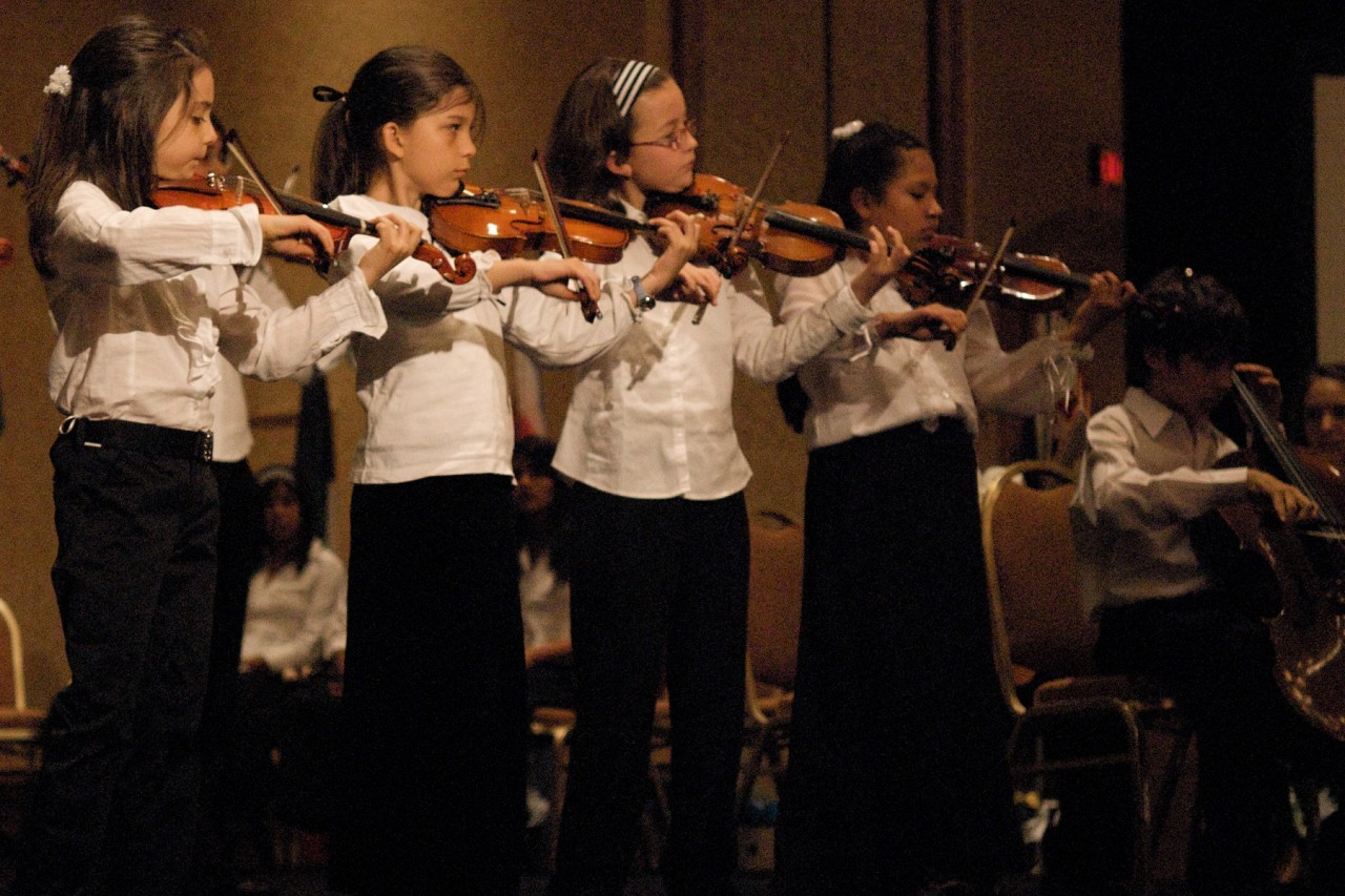 Young violinists perform in the Latin American Suzuki Ensemble at the 2008 SAA Conference