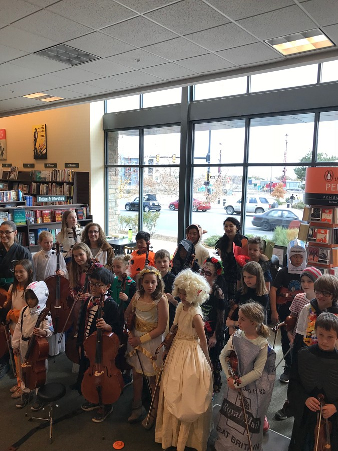 Boulder Suzuki Strings Halloween Concert at Barnes and Noble in Boulder CO