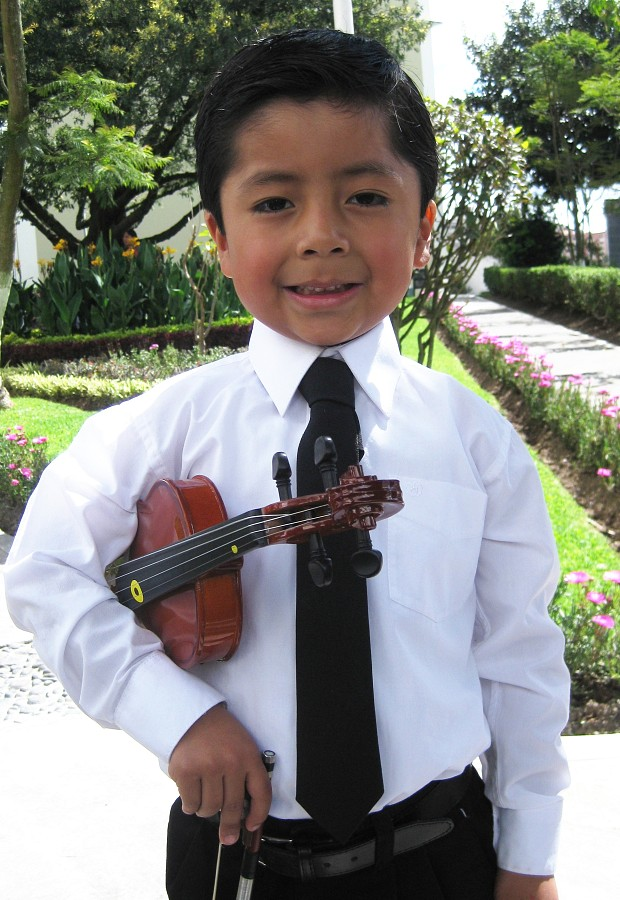 Four-year-old violin student from Ecuador