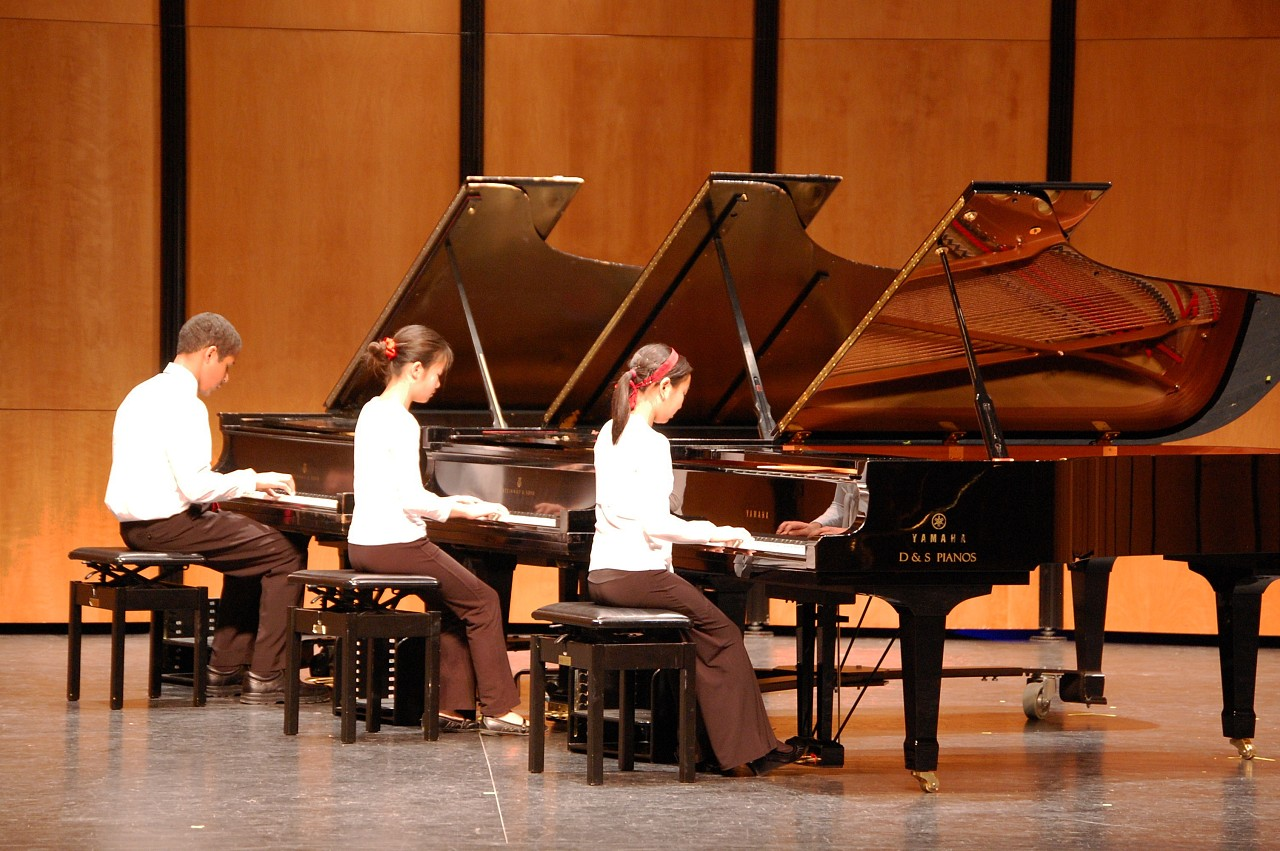 Three piano student performance