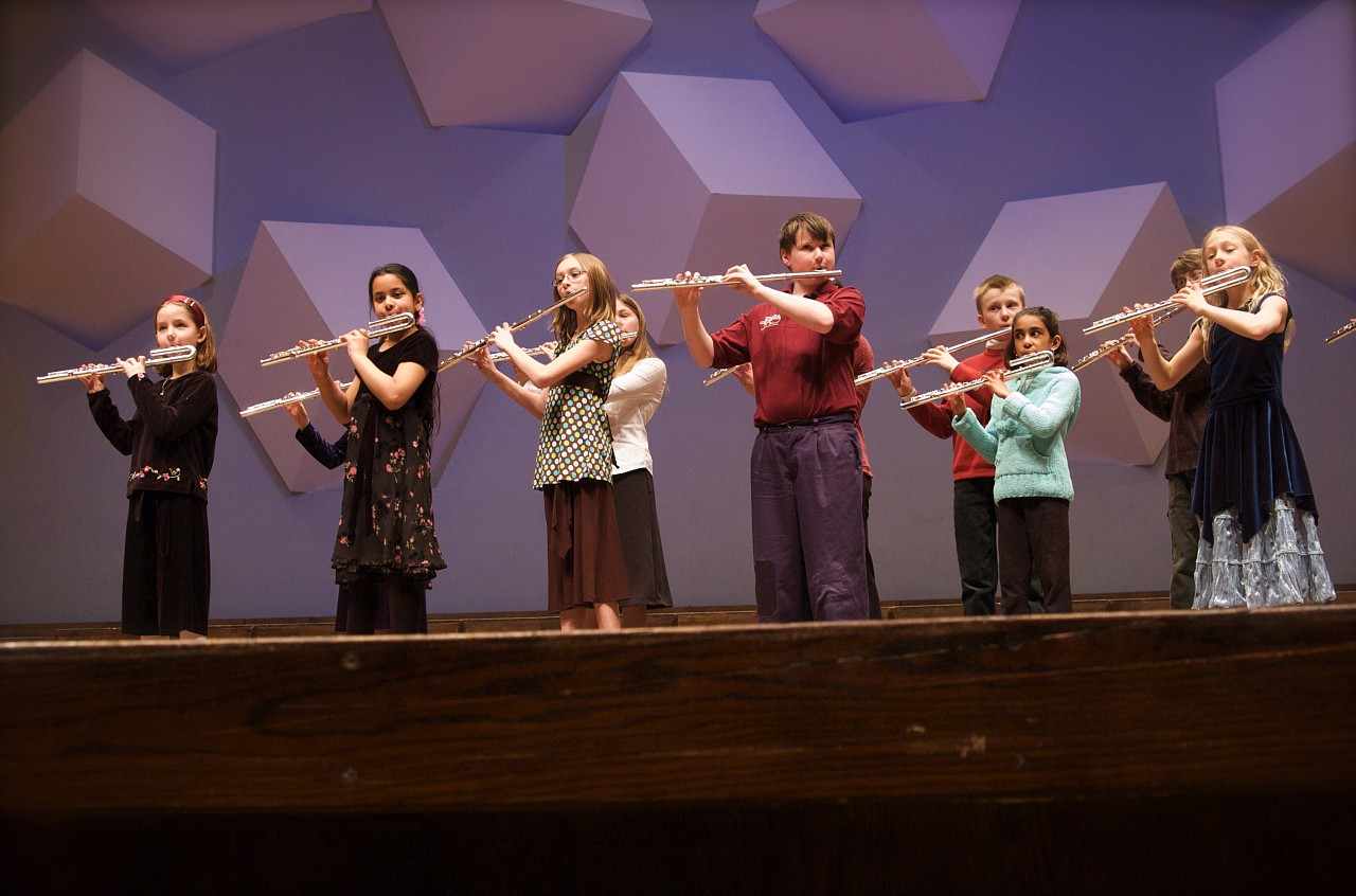Flute students perform at the Suzuki Association of Minnesota graduation recital.