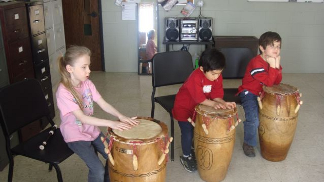 Student drummers from the MacPhail Suzuki Winds Winter Workshop, Recorder Music and Movement Class, with David Gerry and Mary Halverson Waldo