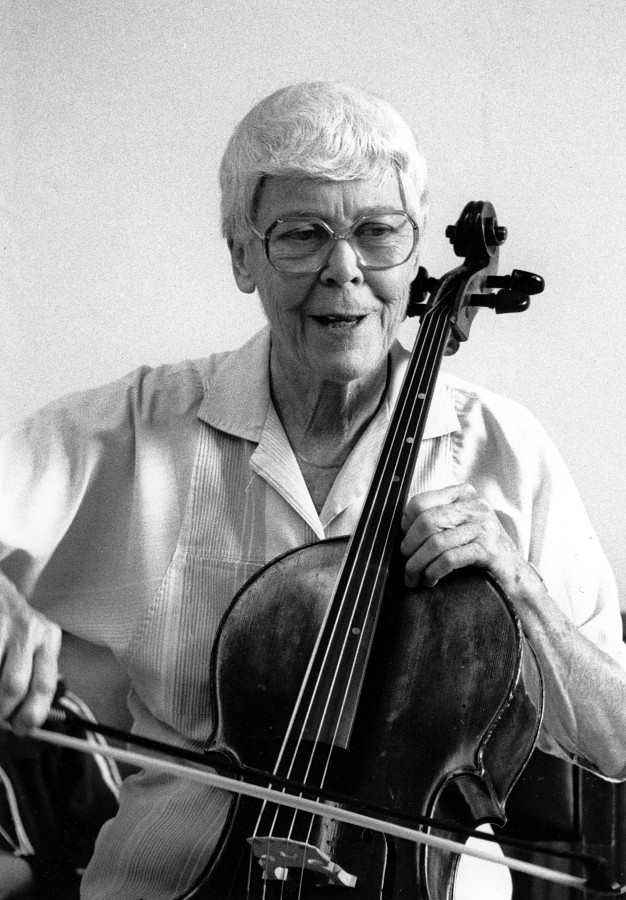 Yvonne Tait and cello, August 1988