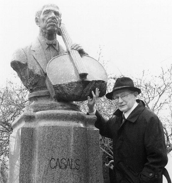 William Preucil with statue of Pablo Casals