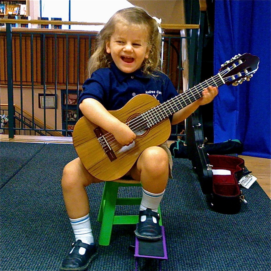 Happy 3-Year-Old Performs