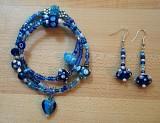 Blue/white/silver coil bracelet & earrings