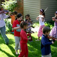 Violin group class outside