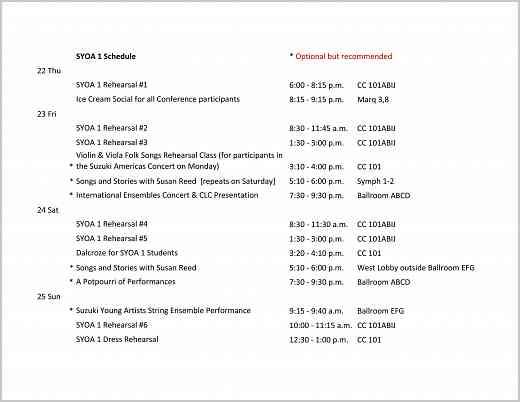 SYOA 1 Schedule