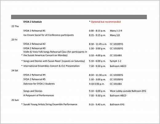 SYOA 2 Schedule