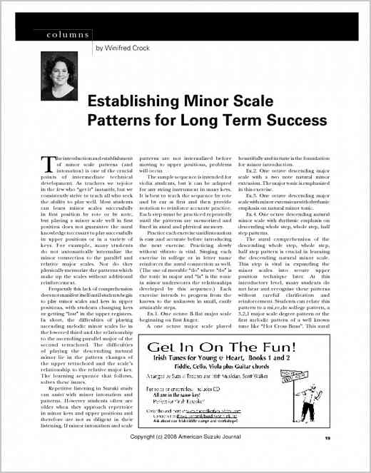 Establishing Minor Scale Patterns for Long Term Success from ASJ 36.2