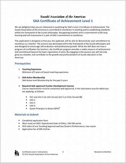 Certificate of Achievement Level 1 Application Instructions