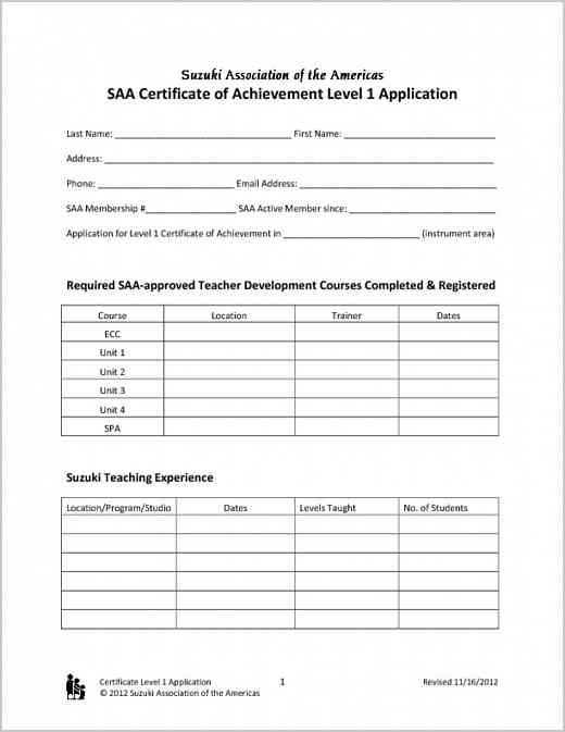 Certificate of Achievement Level 1 Application