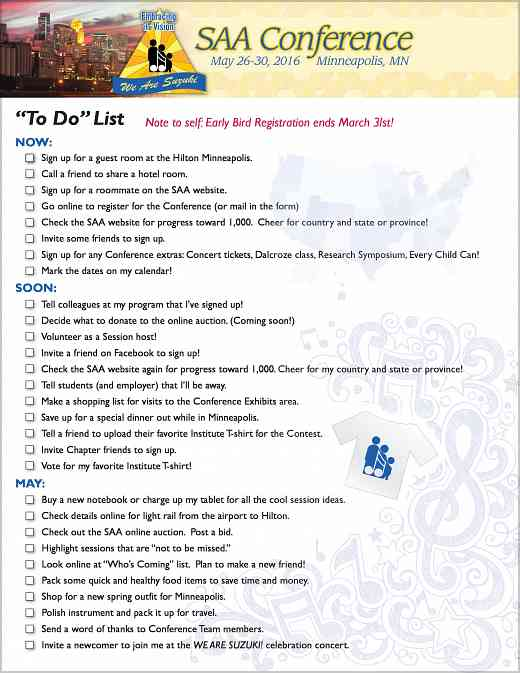 2016 SAA Conference Checklist
