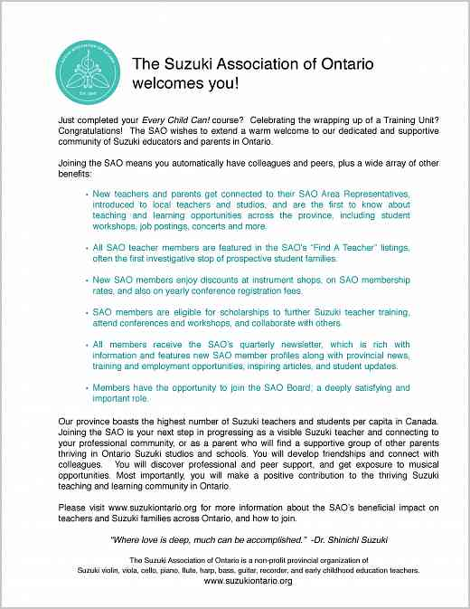 SAO Welcome Letter