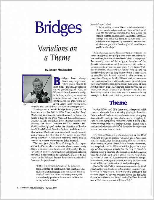 Bridges (Suzuki History): Variations on a Theme from ASJ 25.4