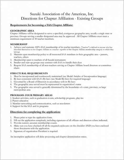 Chapter Affiliate Application Directions for Existing Groups