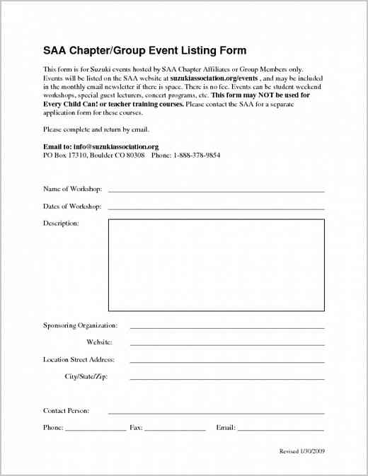 Chapter Affiliate/Group Member Event Listing Form
