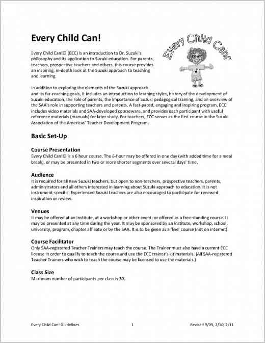 Every Child Can (ECC) Guidelines & Application
